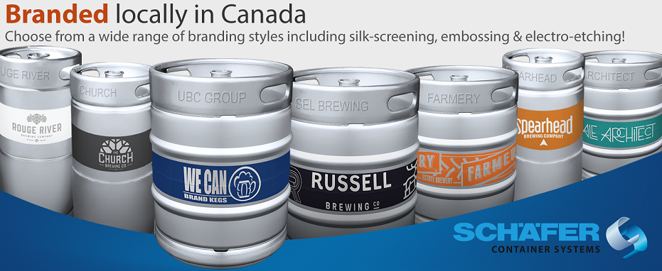 Branded kegs locally in Canada
